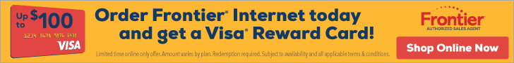 frontier fios banner - 100 visa reward card